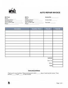 auto repair invoice templates ~ addictionary automotive repair estimate template example