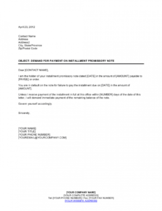 demand for payment on installment promissory note template installment note template doc