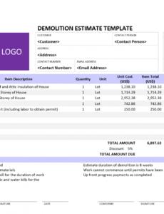 editable download demolition estimate template in 2020  estimate demolition estimate template sample