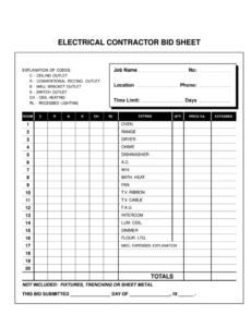 editable electrical bid template  fill online printable fillable electrician estimate template example