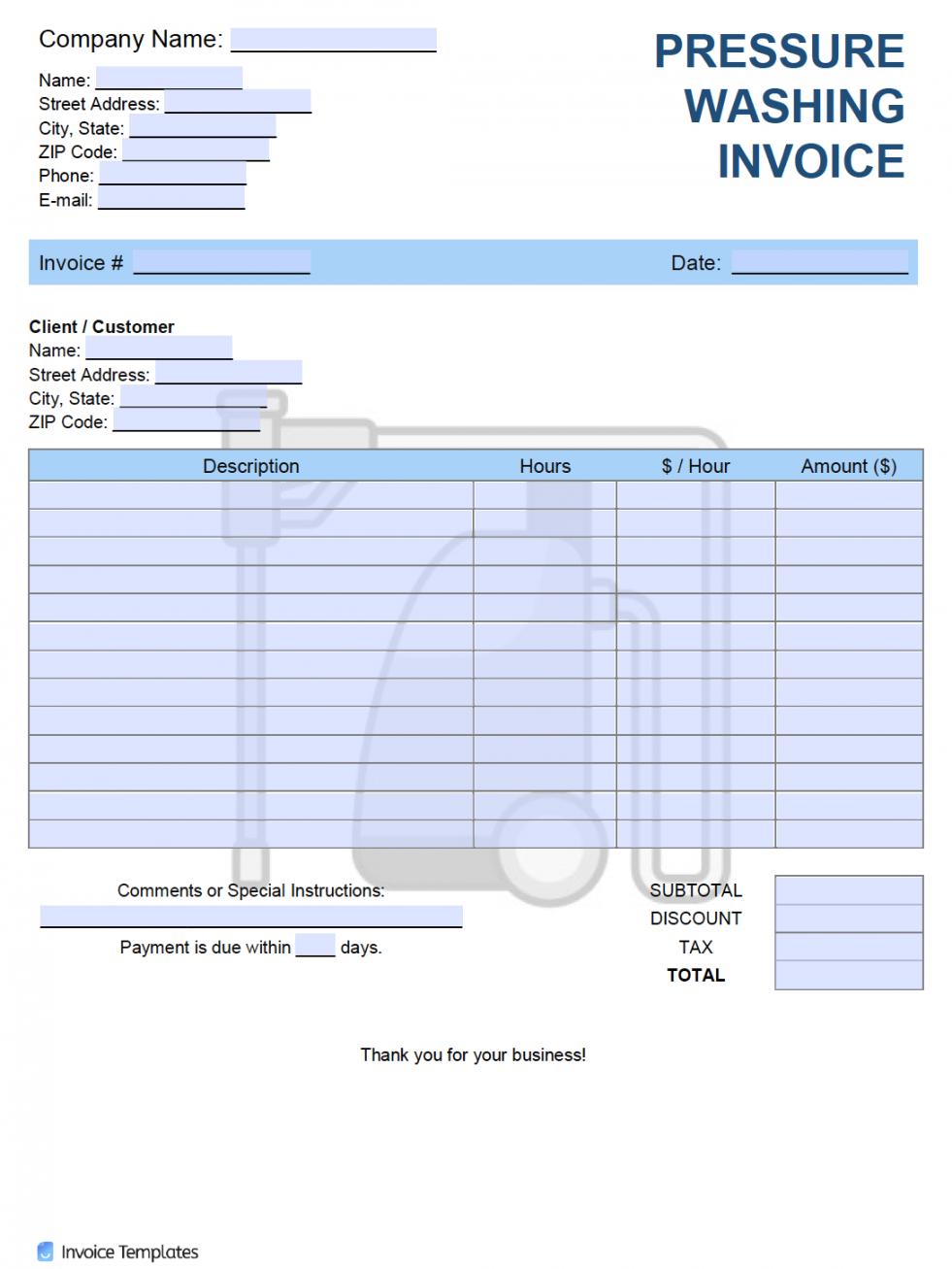 editable free pressure washing invoice template  pdf  word  excel pressure washing estimate template excel