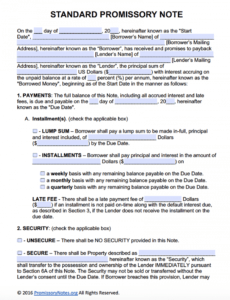 editable free promissory note template  adobe pdf  microsoft word standard promissory note template example