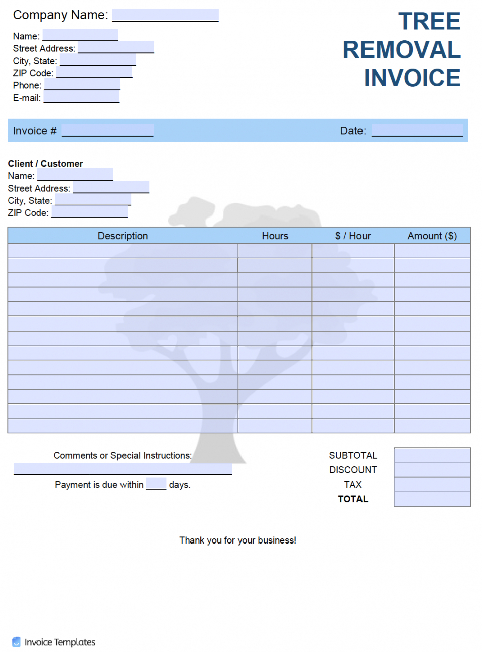 editable free tree removal service invoice template  pdf  word  excel tree trimming estimate template