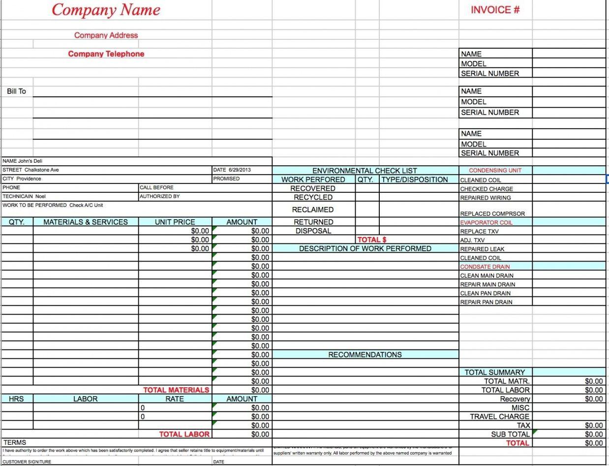 editable hvac invoice template  invoice template free 2016  invoice air conditioning estimate template sample