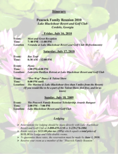 editable sample family reunion program templates itinerary peacock family reunion agenda template word