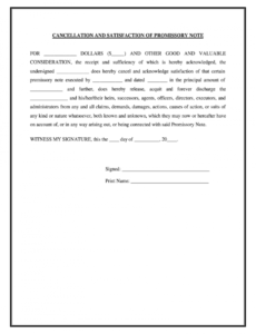 editable satisfaction and release form  fill online printable release of promissory note template excel