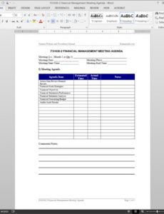 financial management meeting agenda template  fs10302 agenda with notes template