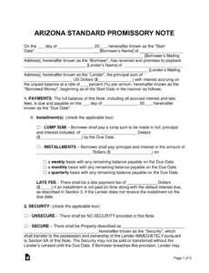free arizona promissory note templates  word  pdf  eforms arizona promissory note template excel