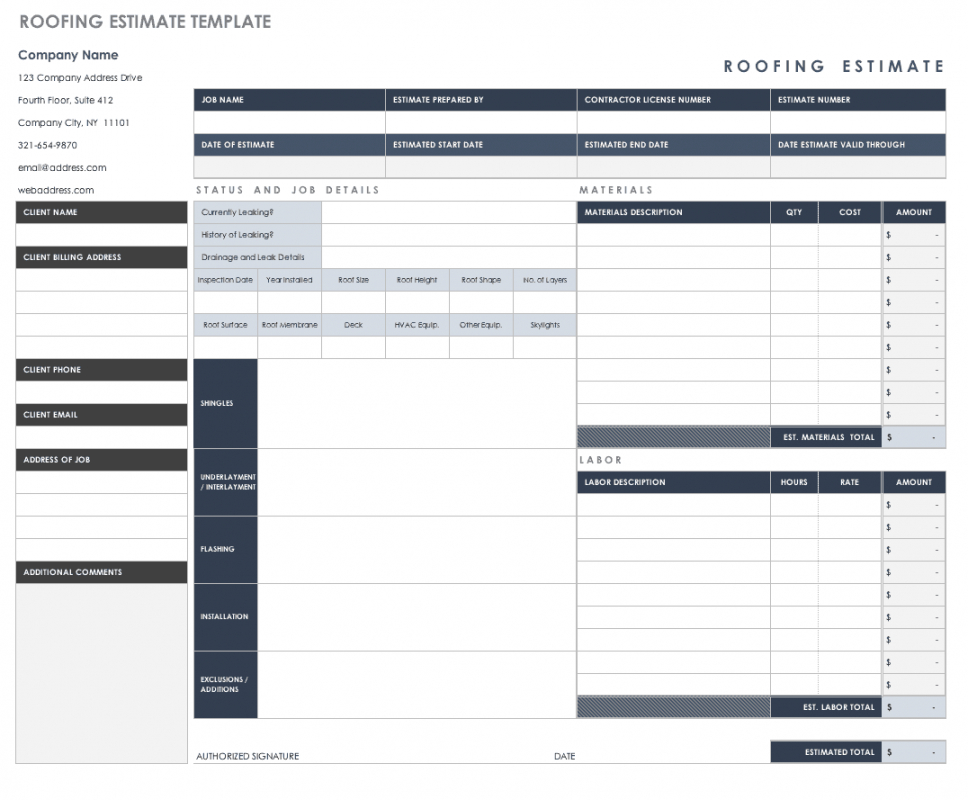 free estimate templates  smartsheet labor estimate template excel