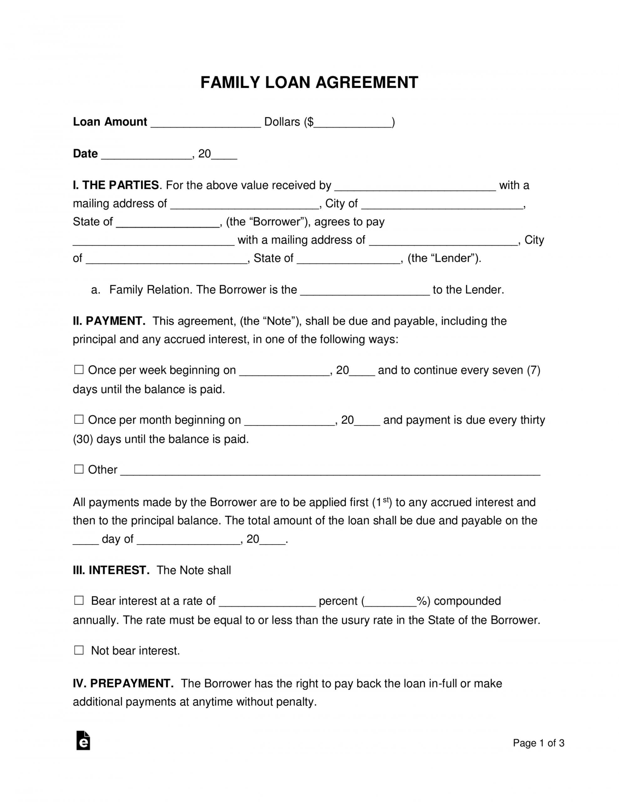 free family loan agreement template  pdf  word  eforms australian promissory note template pdf