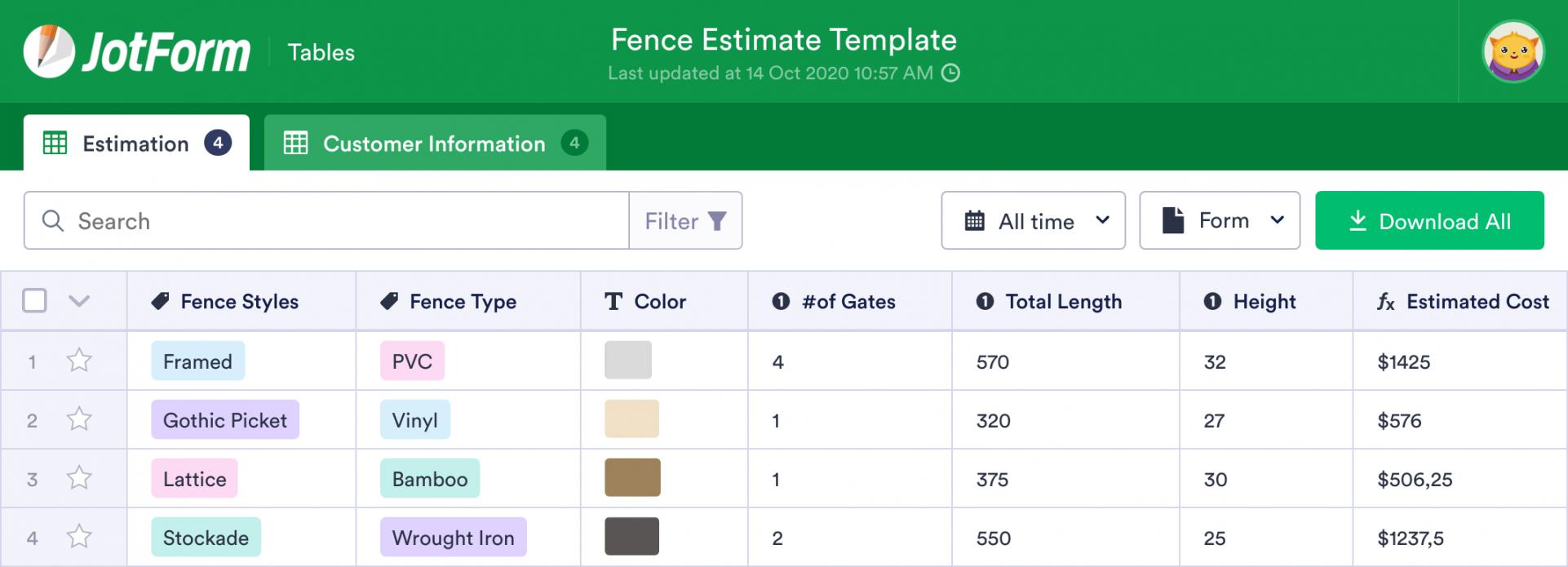 free fence estimate plantilla  jotform tables fence estimate template excel