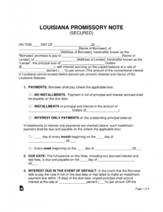 free free louisiana secured promissory note template  word  pdf real estate promissory note template word