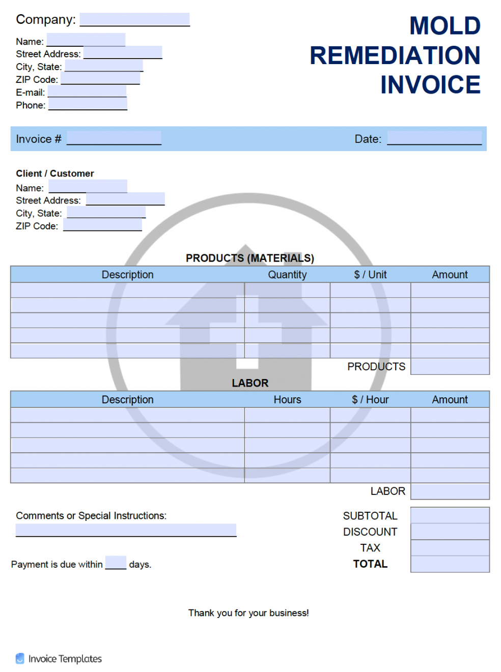 free free mold remediation invoice template  pdf  word  excel mold remediation estimate template word