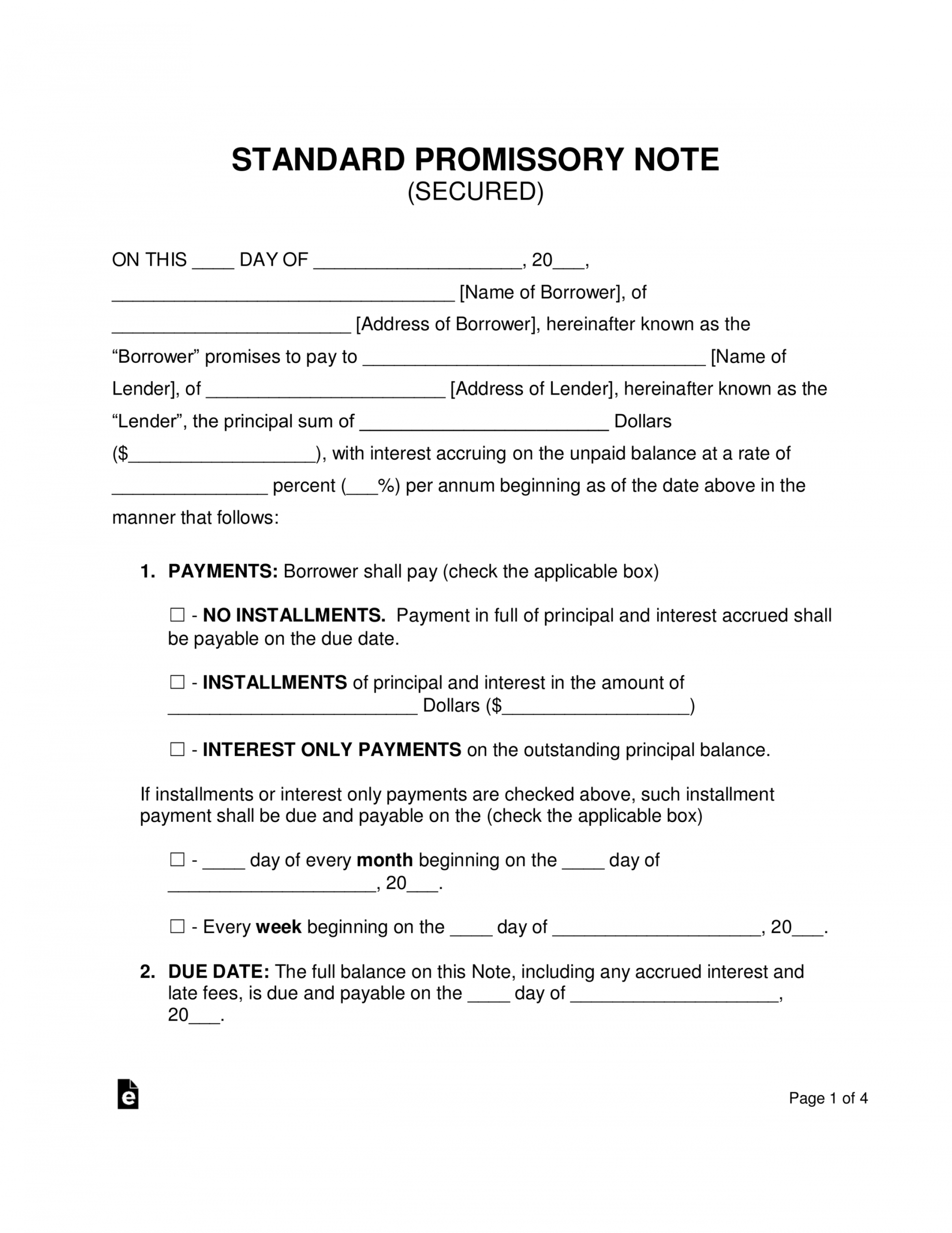 free free secured promissory note template  word  pdf  eforms standard promissory note template excel