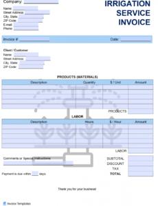 free irrigation service invoice template  pdf  word  excel irrigation estimate template word