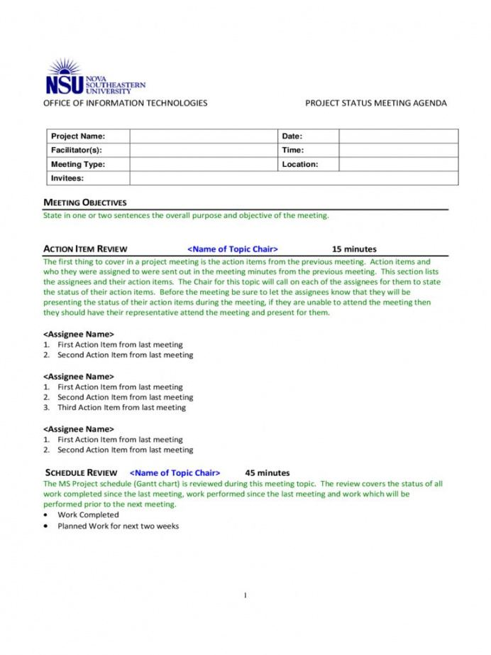 free project meeting agenda template  2 free templates in pdf project meeting agenda template example