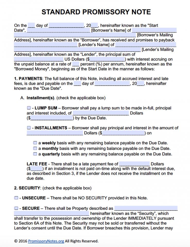 free promissory note template  adobe pdf  microsoft word florida promissory note template