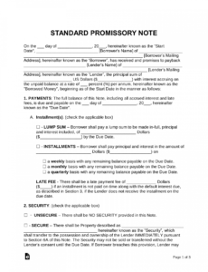 free promissory note templates  word  pdf  eforms  free promissory note template for personal loan