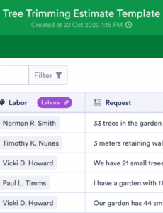 free tree trimming estimate template  jotform tables tree trimming estimate template pdf