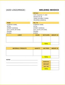 free welding invoice template example welding estimate template excel