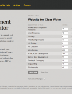 how to estimate web design cost an agency's perspective website development estimate template word