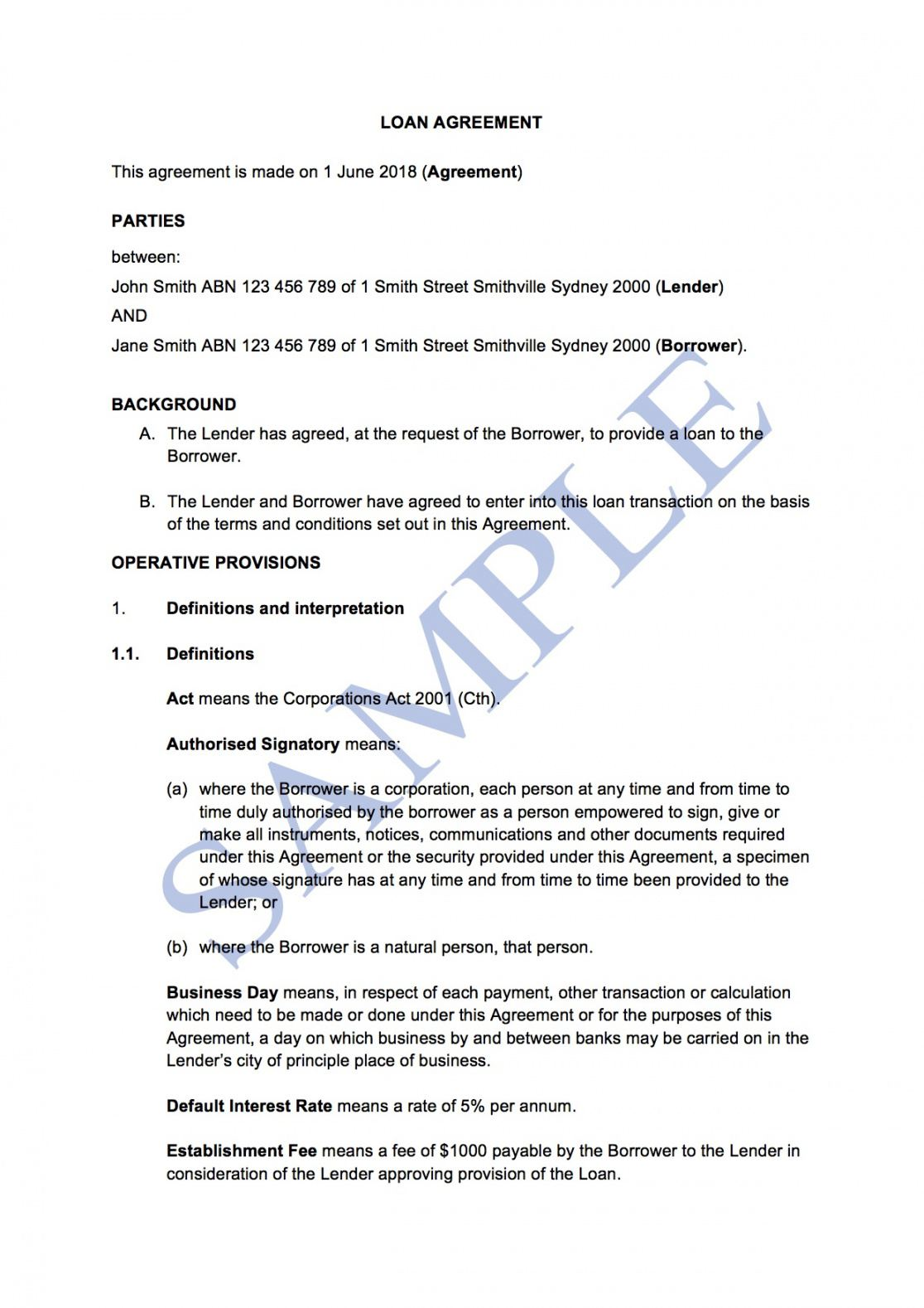 loan agreement with interest  free template  sample australian promissory note template sample