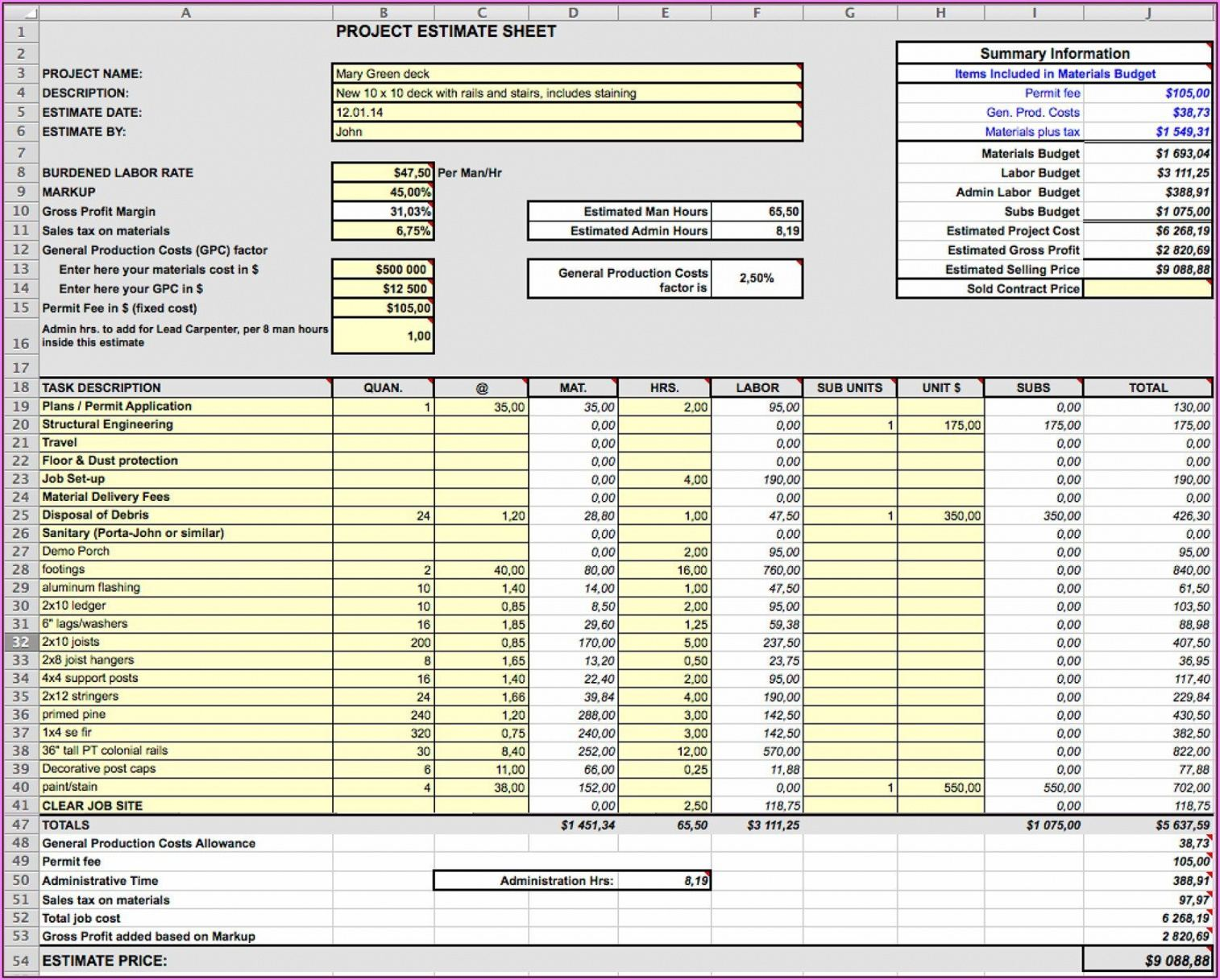 printable construction estimate template excel ~ addictionary siding estimate template
