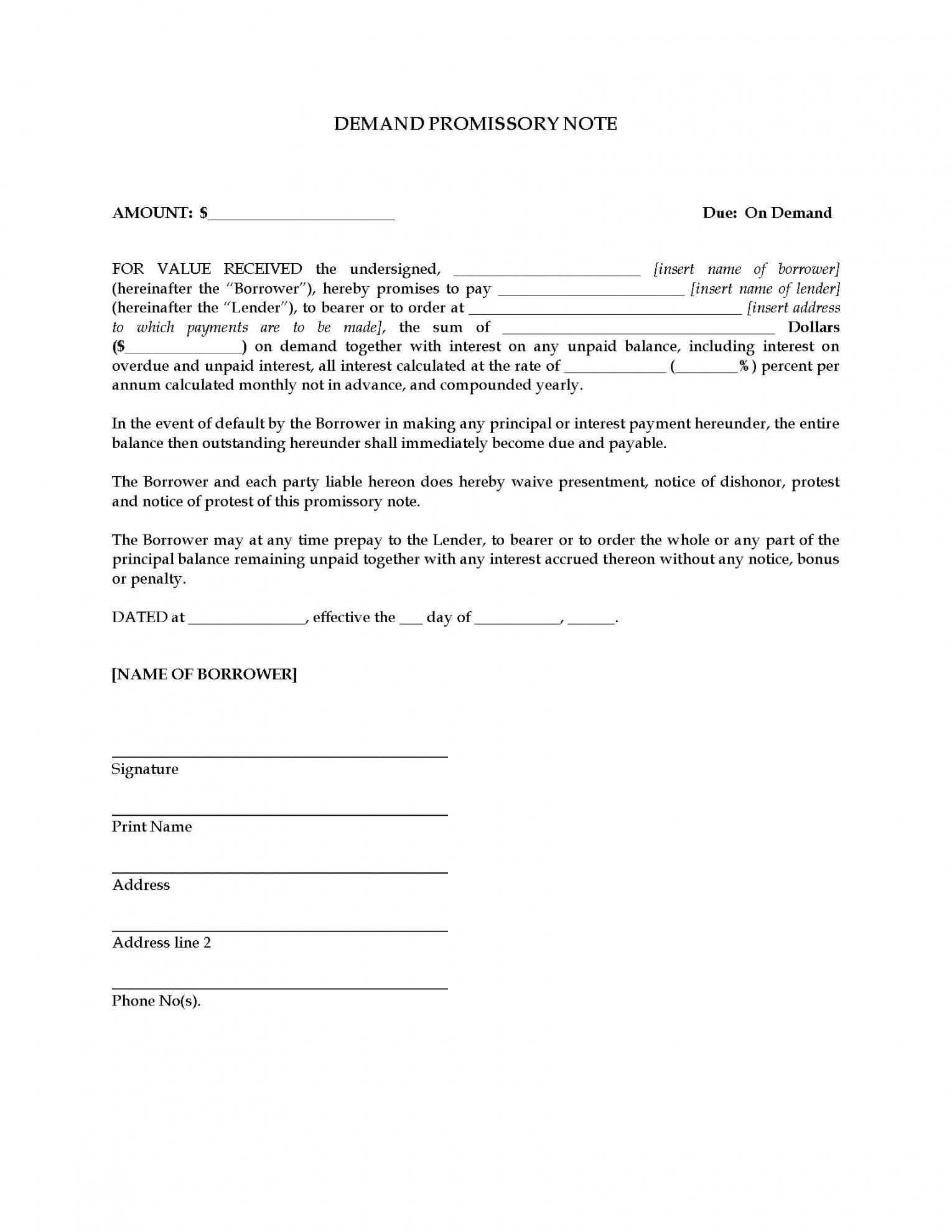 printable demand promissory note  legal forms and business templates australian promissory note template excel