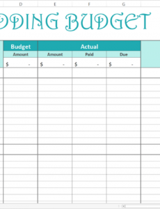 printable easy wedding budget  excel template  wedding budget wedding estimate template