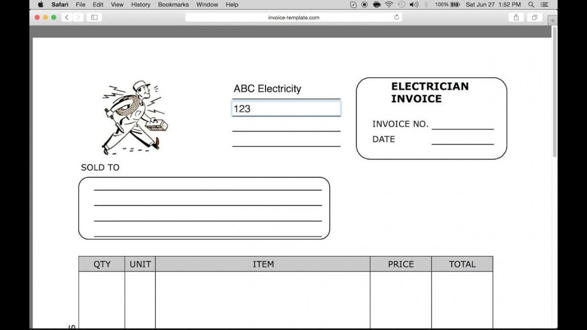 printable free electrician invoice template  pdf  word  excel electrician estimate template example