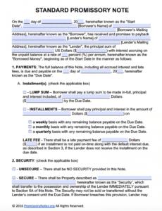 printable free promissory note template  adobe pdf  microsoft word corporate promissory note template pdf