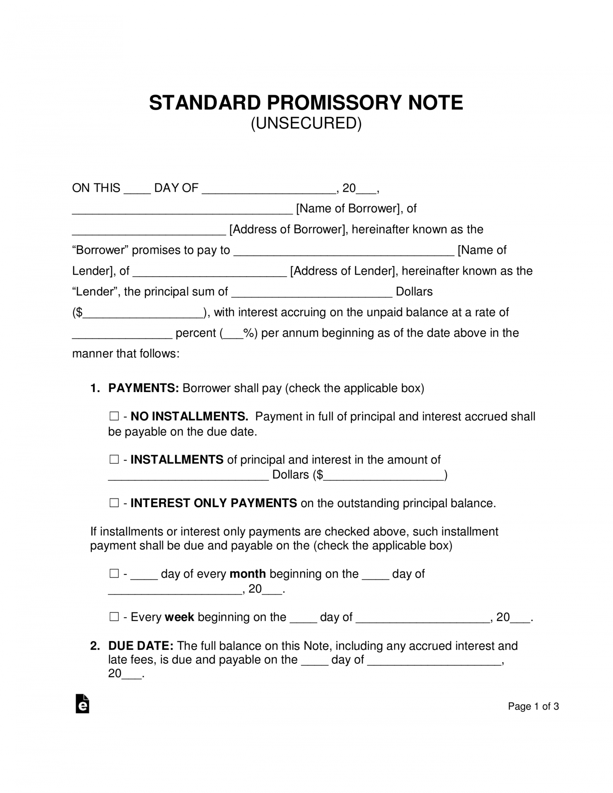 printable free unsecured promissory note template  word  pdf corporate promissory note template pdf