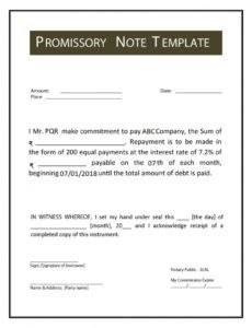 printable promissory note meaning format example types features short term promissory note template doc