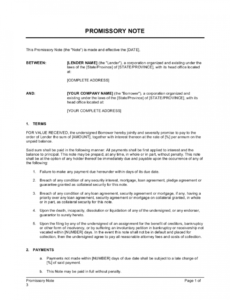 printable promissory note with acknowledgment template  by business corporate promissory note template excel
