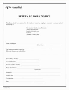 printable return to work note template lovely return to work doctors return to work note template example