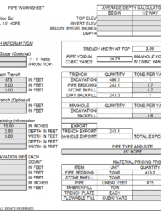 printable siteest  earthwork sitework estimating spreadsheets excavation estimate template doc