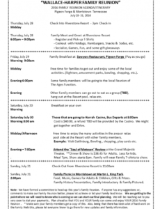 sample 2016 family reunion agendaitinerary  family reunion family reunion agenda template pdf