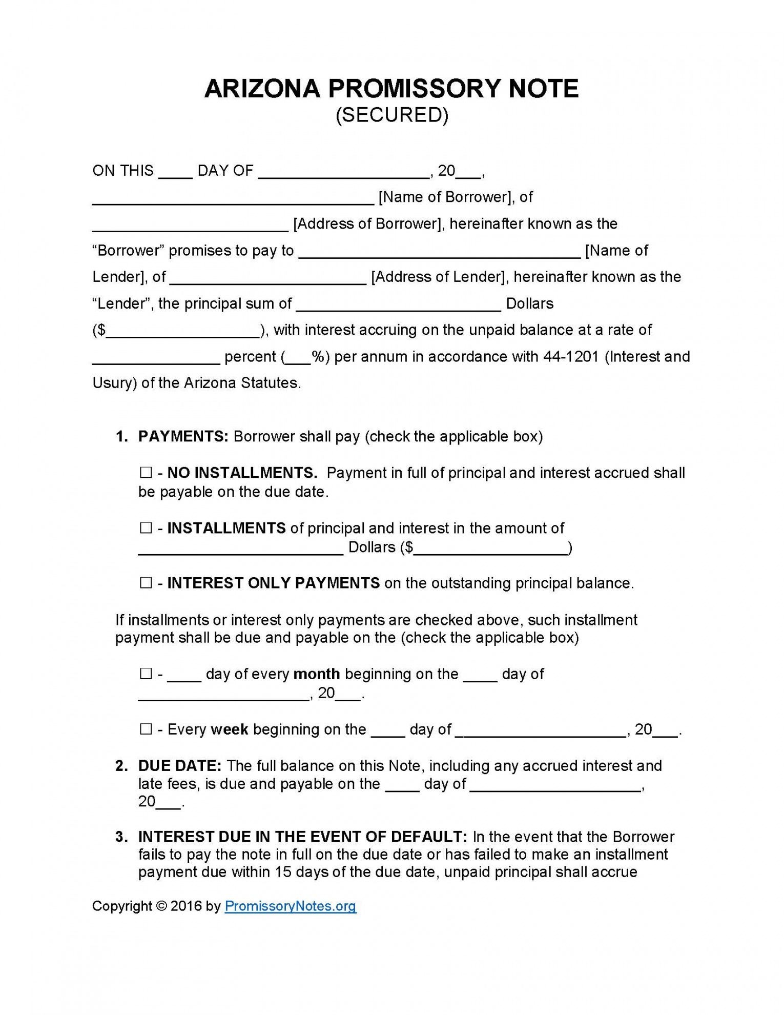 sample arizona secured promissory note template  promissory notes arizona promissory note template