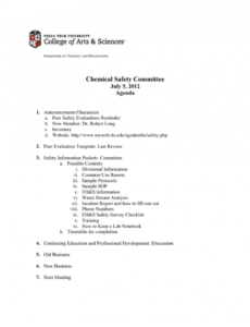 sample chemical safety committee july 5 2012 agenda safety committee agenda template doc