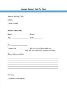 sample doctor note for school templates ~ addictionary doctors note for school template example