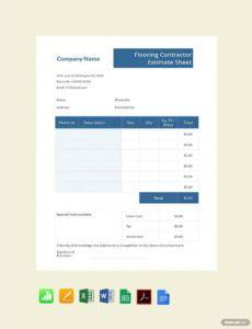 sample free flooring contractor estimate sheet template  pdf flooring estimate template sample