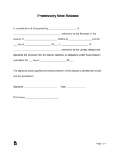 sample free promissory note loan release form  word  pdf release of promissory note template example