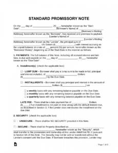 sample free promissory note templates  word  pdf  eforms  free corporate promissory note template example