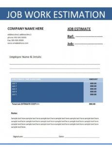 sample job estimation template  free word templates  estimate labor estimate template excel