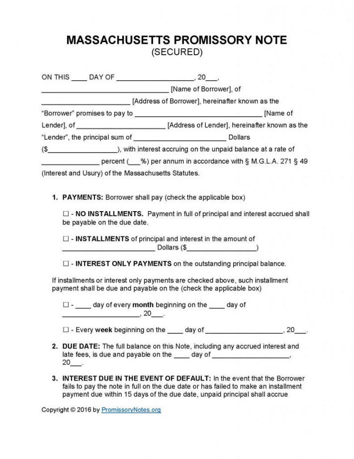 sample massachusetts secured promissory note template  promissory installment note template word