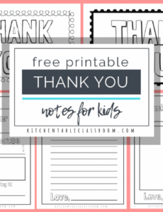 sample printable thank you cards for kids  the kitchen table classroom kids thank you note template word