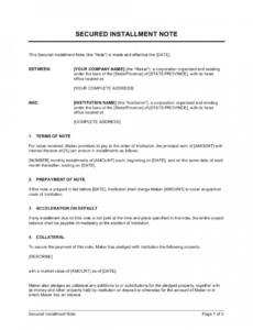 secured installment note template  by businessinabox™ installment note template example