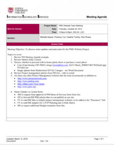 template project management meeting agenda template project meeting agenda template pdf