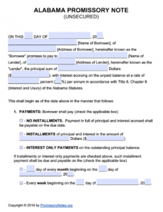 alabama unsecured promissory note template  promissory unsecured promissory note template pdf