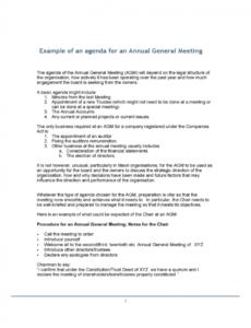 editable 2020 annual general meeting agenda template  fillable annual board meeting agenda template word